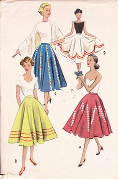 """Cercle 8960 taille 26 """"Rockabilly de Swing jupe Womens Vintage des années 1950 couture patron McCall"""