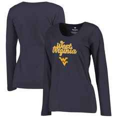 West Virginia Mountaineers Fanatics Branded Women's Plus Sizes Freehand Long Sleeve T-Shirt - Navy