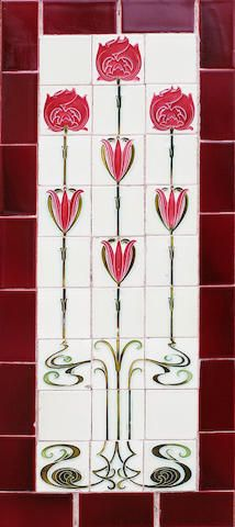 A pair of Secessionist style twenty-seven tile panels