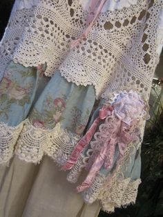 vintage crochet and linen tunic,   by sistersroseandruby