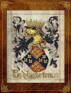 King Of England - Medieval Coat Of Arms  Digital Art by Serge Averbukh
