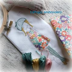 This embroidery and sewing kit contains all you need to make a lovely hanging cushion girl in a gorgeous liberty print dress. The kit is deceptively simple to embroider. Mostly using backstitch and a few french knots. There is a simple stitch guide included and there are tutorials for both