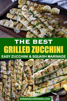 Best Grilled Zucchini recipe uses a handful of staple kitchen ingredients for a marinade, cooks on the grill in minutes, and is topped with fresh lemon and parmesan. Grilled Asparagus Recipes, Grilled Vegetables, Veggie Recipes, Vegetarian Recipes, Cooking Recipes, Healthy Recipes, Parmesan Asparagus, Recipe Zucchini, Vegetables On The Grill