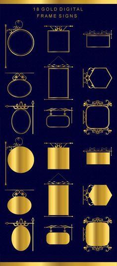 18 Vintage Frames Clip Art, Gold Signs Clip Art, Flourish frames, Clipart Frames, Wedding Clip art, Flourish Clip art, Banner clip art
