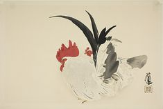 """Rooster and Hen, from the series """"Album of Twelve Zodiacal Animals by the Artist Seiho (Seiho gahaku hitsu junishi cho)"""" Art Institute Of Chicago, Woodblock Print, Asian Art, Rooster, Album, Artwork, Artist, Prints, Animals"""