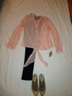 MAY 14: light coral chevron top, jeans, nude flats, coach watch, coral button earrings (not pictured)
