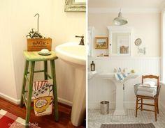 Pedestal sink - Idéias para banheiros com pia de coluna Southern Style, Cabinet, Storage, Pedestal, House, Bathroom Ideas, Furniture, Nova, Home Decor