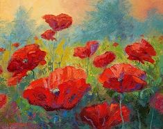Field Of Red Poppies by Marion Rose Acrylic ~ 16 x 20