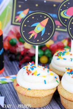 free printable - Space Birthday Party Cupcake Toppers
