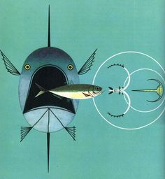 Charley Harper detail of Aquatic Food Chain Charley Harper, Modern Graphic Design, Graphic Design Illustration, Graphic Art, Illustration Art, Animal Illustrations, Diy Dog Bed, Fish Art, Prints