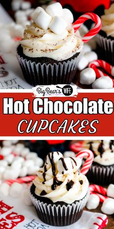 Whip up your favorite hot chocolate mix into these Hot Chocolate Cupcakes for the perfect winter evening treat! Top them with homemade marshmallow frosting! Hot Chocolate Cupcakes, Chocolate Spoons, Homemade Hot Chocolate, Hot Chocolate Bars, Hot Chocolate Recipes, Chocolate Syrup, Chocolate Tarts, Christmas Chocolate, Christmas Desserts