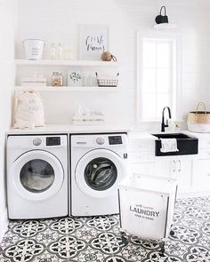BECKI OWENS- 7 Elements of the Modern Farmhouse. White laundry room with patterned black and white cement tile.