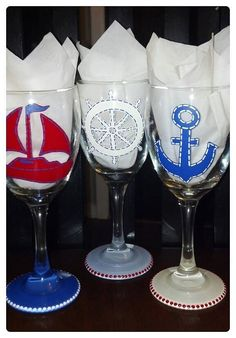 Hand Painted Nautical Trio Wine Glasses Set of by JRSisterDesigns, $38.00