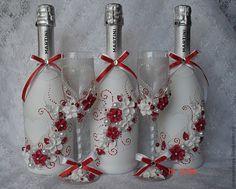 Купить Оформление шампанского в бело-красной гамме - ярко-красный, свадебное шампанское, свадьба