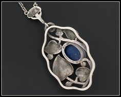 Vienna Secession or Jugendstil 800 silver and lapis lazuli pendant. Maker's mark MBM? View 3.