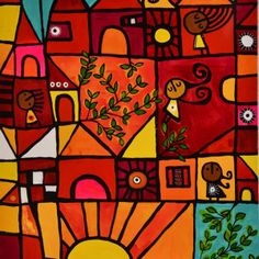 de la serie D_A DE SOL-50cmx90cm-tecnica mixta sobre lienzo-R004 Arte Popular, Cube, Funny Pictures, Illustration Art, Texture, Painting, Kid Art, Gardens, Painting Abstract