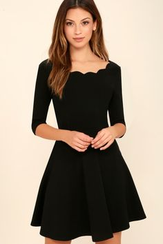 The adorable Tip the Scallops Black Dress has a thick stretchy knit full skirt and a feminine scalloped bateau neckline that's packed with unique allure.