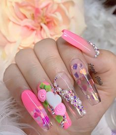 Semi-permanent varnish, false nails, patches: which manicure to choose? - My Nails Glam Nails, 3d Nails, Cute Nails, Pretty Nails, Acrylic Nails, Jamberry Nails, Unicorn Nails, Nail Decorations, Flower Nails