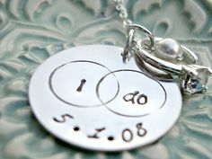 BRIDAL Necklace I Do Necklace Wedding Keepsake Hand Stamped Jewelry by Three Little Pixies Boutique. $43.00, via Etsy.