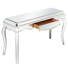 Elegant Lighting - 1 Drawer Desk, Silver/Clear Mirror