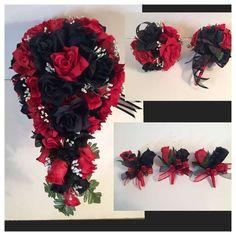 Red Black Silk Rose Wedding Bridal Bouquet Paqckage Cascade Corsages Flower Girl  | eBay