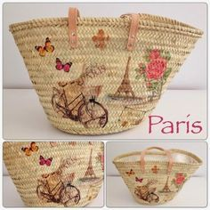 Monica Gars/ Capazos de palma/ Wicker beach basket/ www.monicagars.com Diy Bags Easy, Diy Tote Bag, Hippie Bags, Art Bag, Basket Bag, Summer Bags, Bag Making, Straw Bag, Purses And Bags