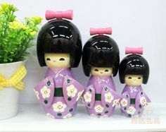 3Pcs Oriental Japanese Kokeshi dolls Girls wooden