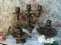 Set of Candelabra Three Tiers Candlestick by LesMemoiresdeLuna