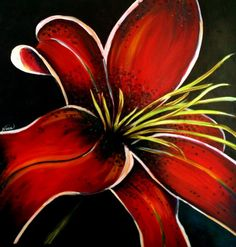 Acrylic Painting  - Stargazer Lily - introduction of red/orange hue