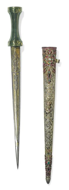 AN OTTOMAN JADE-HILTED DAGGER WITH GEM-SET SCABBARD, WITH CA