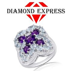 """5.80 Ct Round Cut Amethyst & Blue Topaz 14K Gold Cluster Band Ring """"Mother\'s Day Gift"""". Starting at $89"""