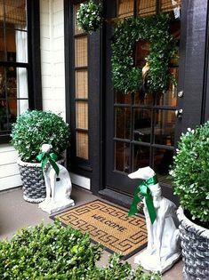 Painting Exterior Doors -- Black Doors, boxwood and naturally dog statues flanking the doors! Front Door Entrance, Front Entrances, Front Entry, Front Door Decor, Entry Doors, Front Porch, Entryway, House Entrance, Painted Exterior Doors
