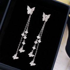 Platinum Temperament Personality Long 925 Silver Needle Earrings Simple Zircon Tassel Earrings Butterfly Earring Earrings,#Long, #Silver, #Platinum Fancy Jewellery, Fancy Earrings, Jewelry Design Earrings, Stylish Jewelry, Simple Earrings, Cute Jewelry, Designer Earrings, Beautiful Earrings, Women's Earrings