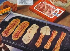 Bacon Strip Pancakes ~~~  Yes, you heard it and saw it right here!  Go ahead, admit it - there's nothing like it when that creative event of maple syrup, salty bacon, and sweet fluffy pancakes collide on your plate and simultaneously meet fork and mouth!  No more needing to push those bacon pieces over into the scrumptiously sweet syrup and the last bite or two of fluffy pancake.