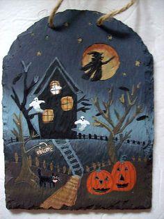 Collectible Halloween Scene Handpainted Sheet Rock Magic Creations | eBay