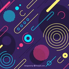 Abstract background with colorful rounded shapes Free Vector 80s Design, Game Ui Design, Shape Design, Pattern Design, Abstract Shapes, Geometric Art, Islamic Wallpaper Hd, Powerpoint Design Templates, Memphis Design