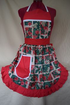 Retro Vintage 50s Style Full Apron / Pinny – Christmas Holly & Poinsettia With Red Trim