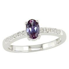 ($167.99) 10K White Gold .05 ctw Diamond and Alexandrite Ring   From Amour
