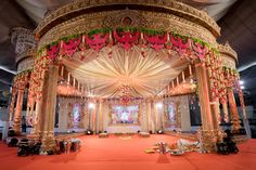 Fiber Mandapam Contact SLN Flower Decoration : 9000150989 These are some sa Wedding Hall Decorations, Wedding Reception Backdrop, Marriage Decoration, Wedding Mandap, Flower Decorations, Wedding Receptions, Wedding Entrance, Engagement Decorations, Desi Wedding
