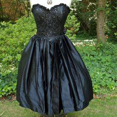 Vintage 80's Dress Gunne Sax Black Strapless by prettyinprague, $55.00