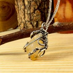 Citrine Point Necklace Artisan Antiqued German by MbaHandmade