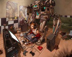 Explore Anime Gamer Girl Wallpaper on WallpaperSafari Art Manga, Anime Manga, Anime Hair, Character Illustration, Digital Illustration, Francisco Brennand, Pop Art Poster, Epic Characters, Video Games Girls