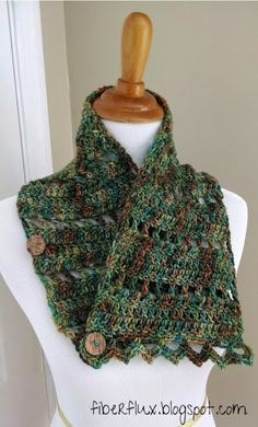 Fiber Flux...Adventures in Stitching: Free Crochet Pattern...Earth Fairy Button Cowl!