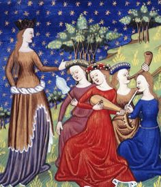 (Miniature) Queen with four attendant maidens playing musical instruments, early 15th century