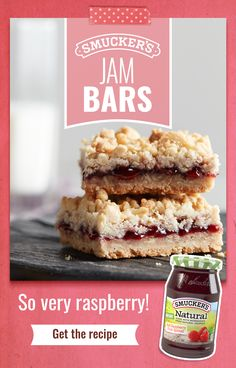 Looking for a springy Easter dessert? Friends and family will love these Jam Bars made with Smucker's® Red Raspberry Natural Fruit Spread — the one with real raspberries as the ingredient! Tap the Pin to get the recipe. Yummy Treats, Sweet Treats, Yummy Food, Cookie Recipes, Dessert Recipes, Bar Recipes, Red Raspberry, Cookies Et Biscuits, Bar Cookies