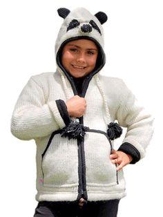 Morbida giacca panda per bambino con cappuccio