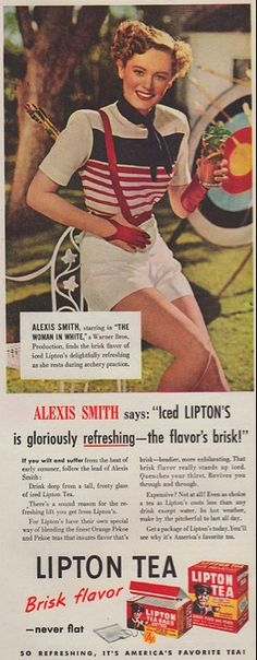 """Lipton Tea print ad 'Alexis Smith says """"Iced Lipton's is gloriously refreshing--the flavor's brisk' depicts the  star in red, white and blue summer sports clothes, c. 1945, USA"""