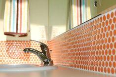 ModDotz Sherbet Orange Porcelain Penny Round Tile | Modwalls Tile