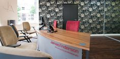 This interesting take on the botanical theme provides real interest at this branch of James Anderson estate agents. Its organic but stylistic form create real impact. James Anderson, Office Set, Estate Agents, Corner Desk, Organic, Create, Wallpaper, Interior, Furniture