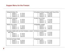 Freezer menu cont